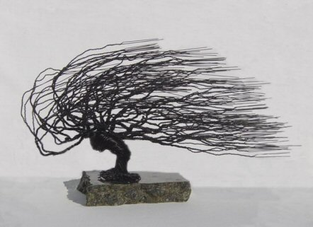 Wire Bonsai Tree Sculpture Windswept Style
